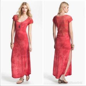 Free people red tie dye maxi dress size M